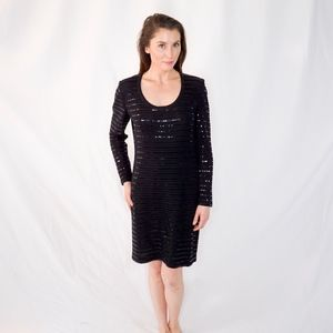 ST. JOHN Evening Sparkle Black Dress 0818